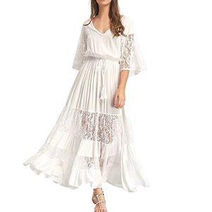 Dresses & Skirts - Bohemian Drawstring Waist White Long Maxi